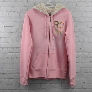 💞 Pink Roxy Brand Hoodie With Thumb Holes Large